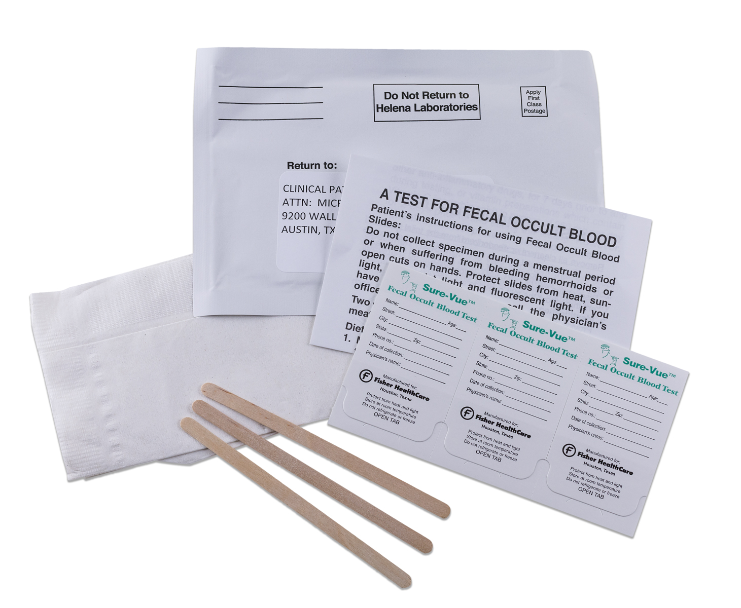 A test of fecal occult blood includes three stir sticks and three fecal occult labels as wll as a sell addressed return envelope