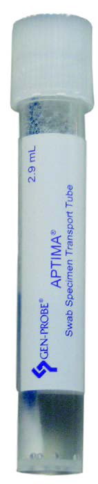 White APtima Unisex transport medium, swab included within transport tube